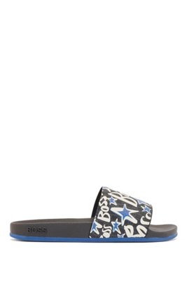 Italian-made slides with monograms and stars, Light Blue