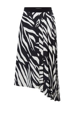 Zebra-print midi skirt with asymmetric hem, Black Patterned