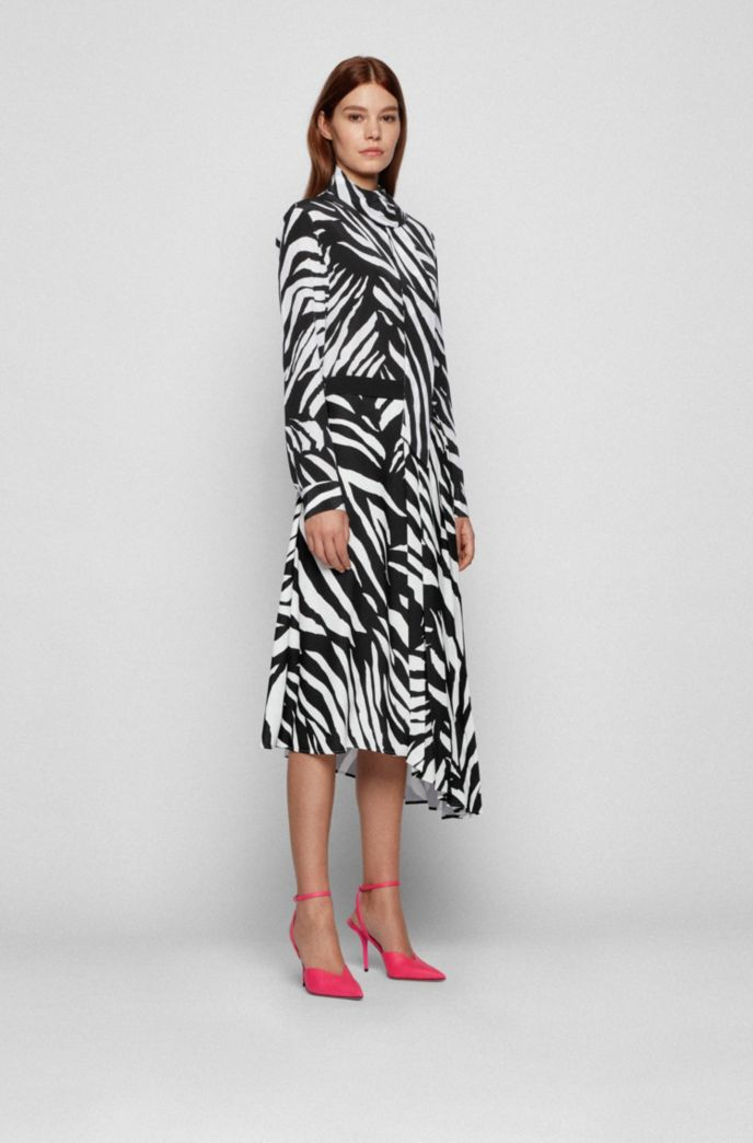 Zebra-print midi skirt with asymmetric hem