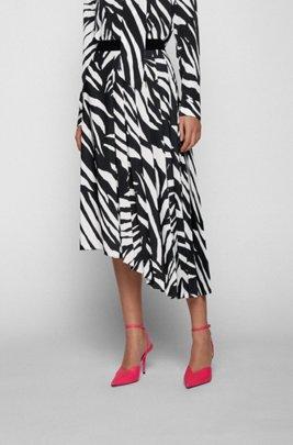 Falda midi con estampado de cebra y dobladillo asimétrico, Negro estampado