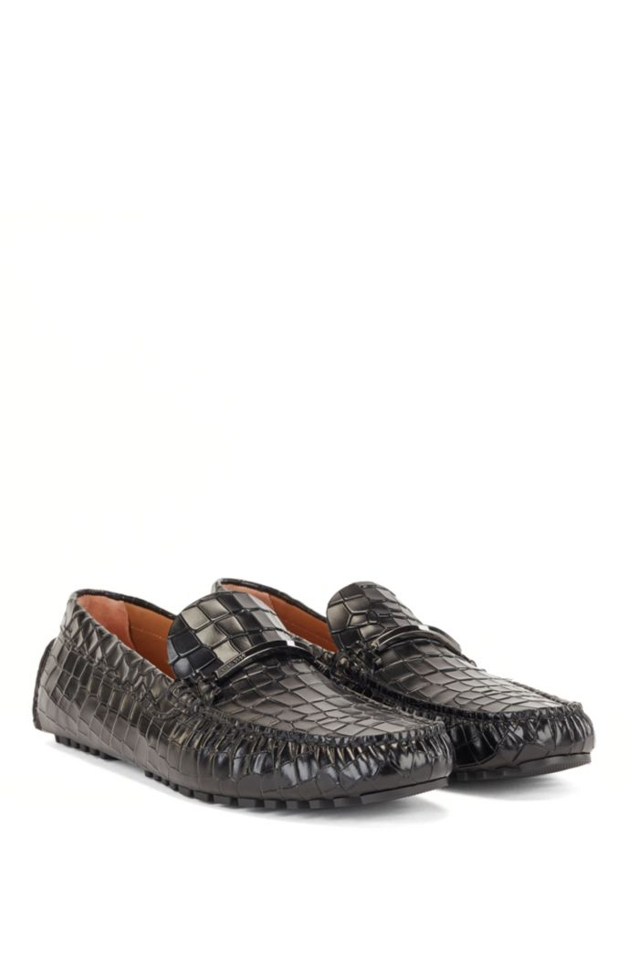 Driver moccasins in crocodile-print leather with branded trim