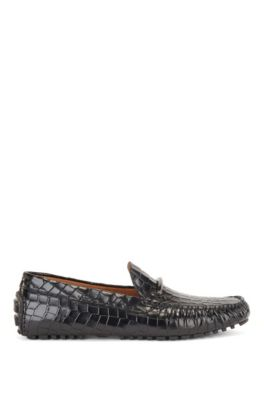 Driver moccasins in crocodile-print leather with branded trim, Black