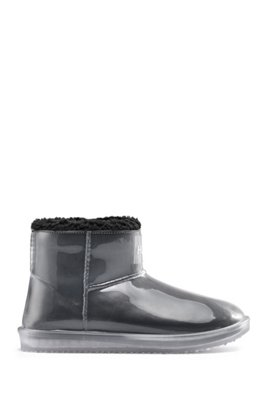 Transparent booties with faux-shearling lining, Black