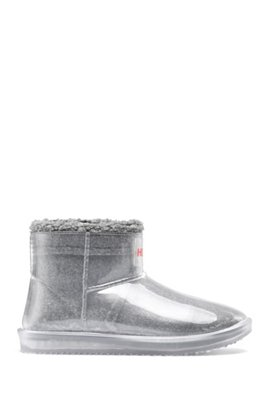 Transparent booties with faux-shearling lining, Light Grey