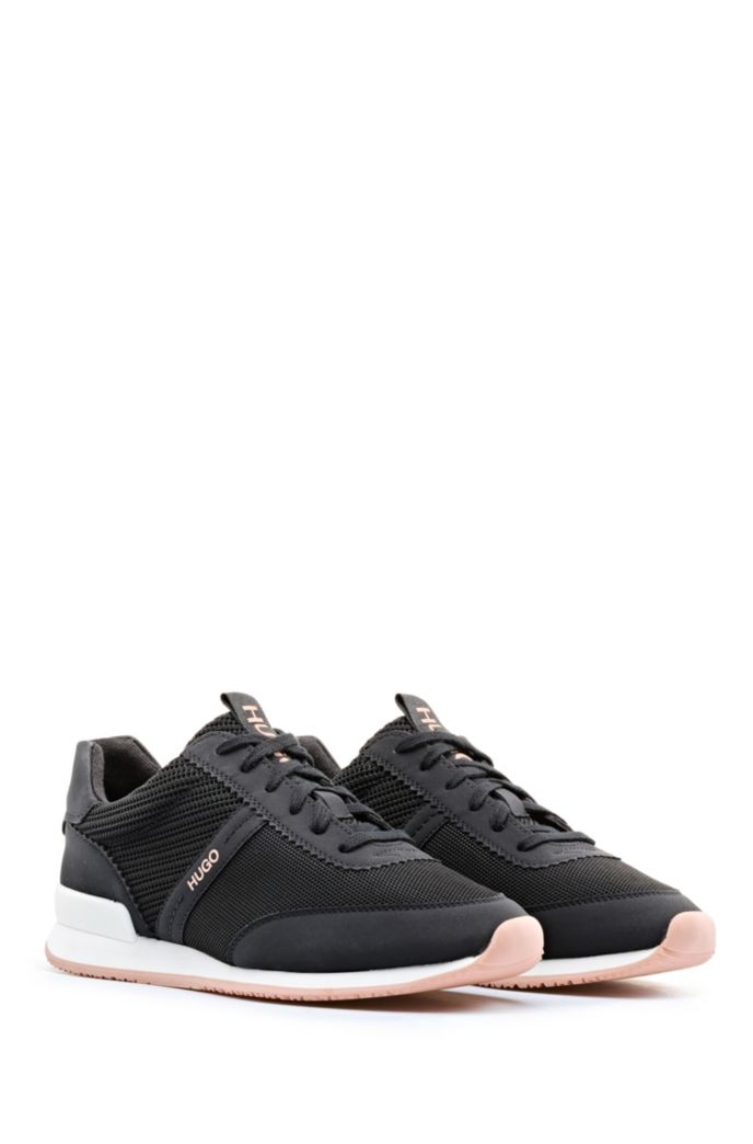 Lace-up trainers with knit-detail uppers