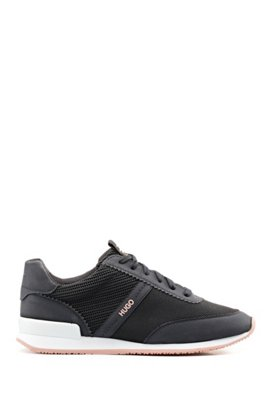 Lace-up trainers with knit-detail uppers, Black