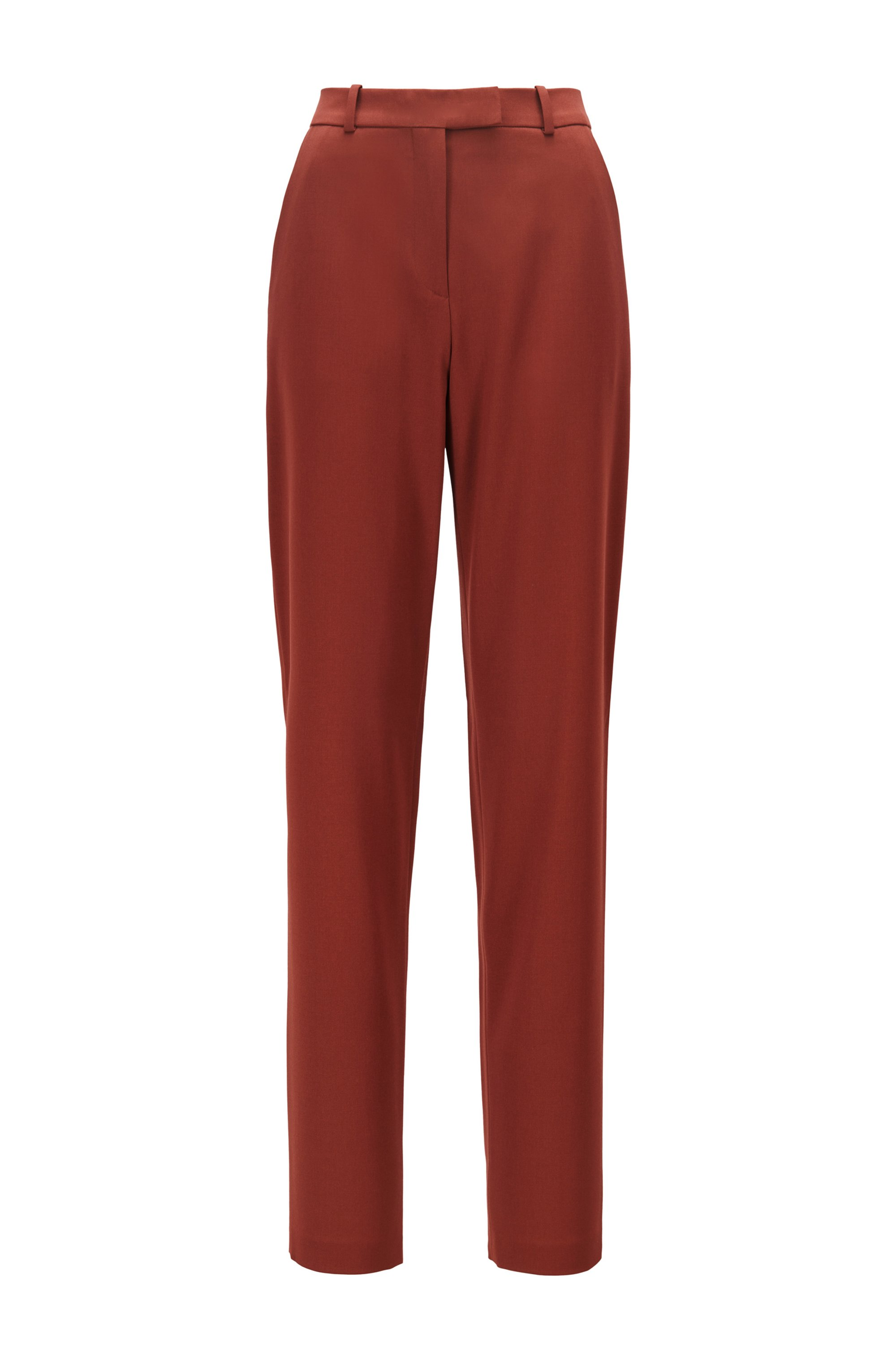 Regular-fit trousers in Italian stretch-wool gabardine, Brown