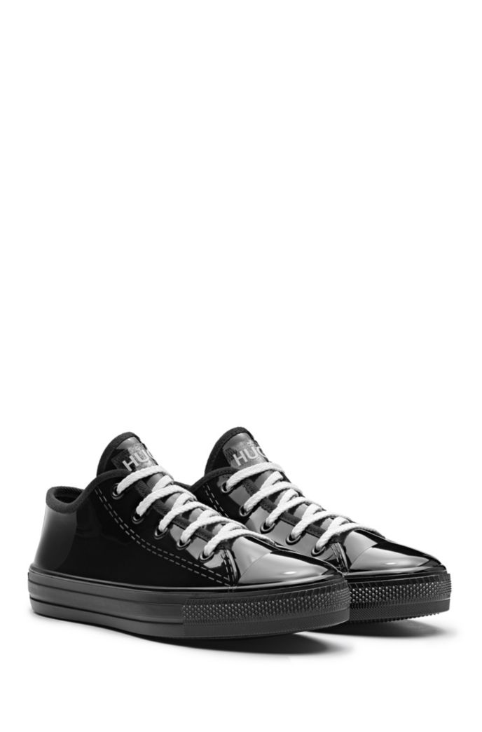 Low-profile lace-up trainers in glossy rubber