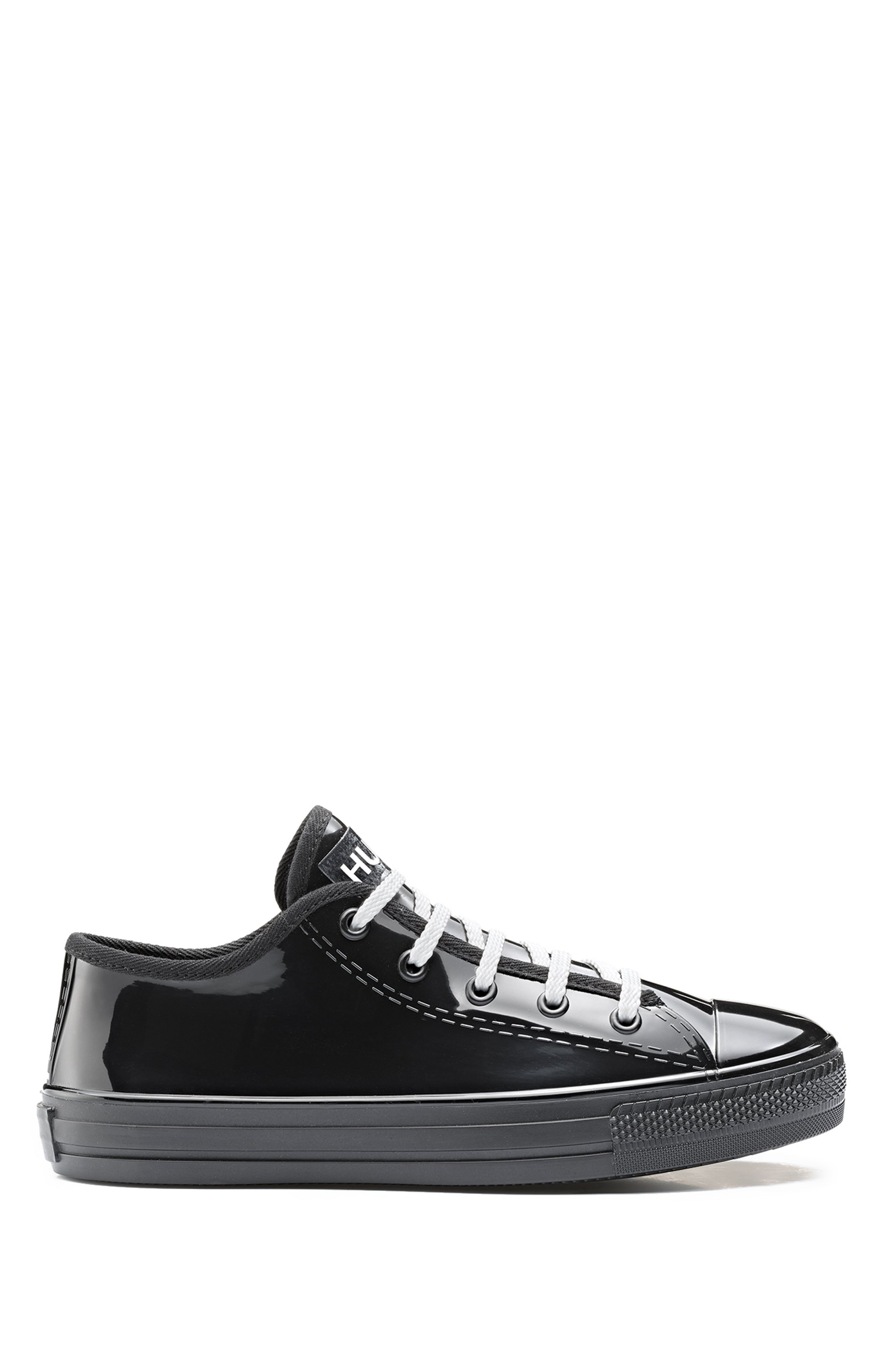 Low-profile lace-up trainers in glossy rubber, Black