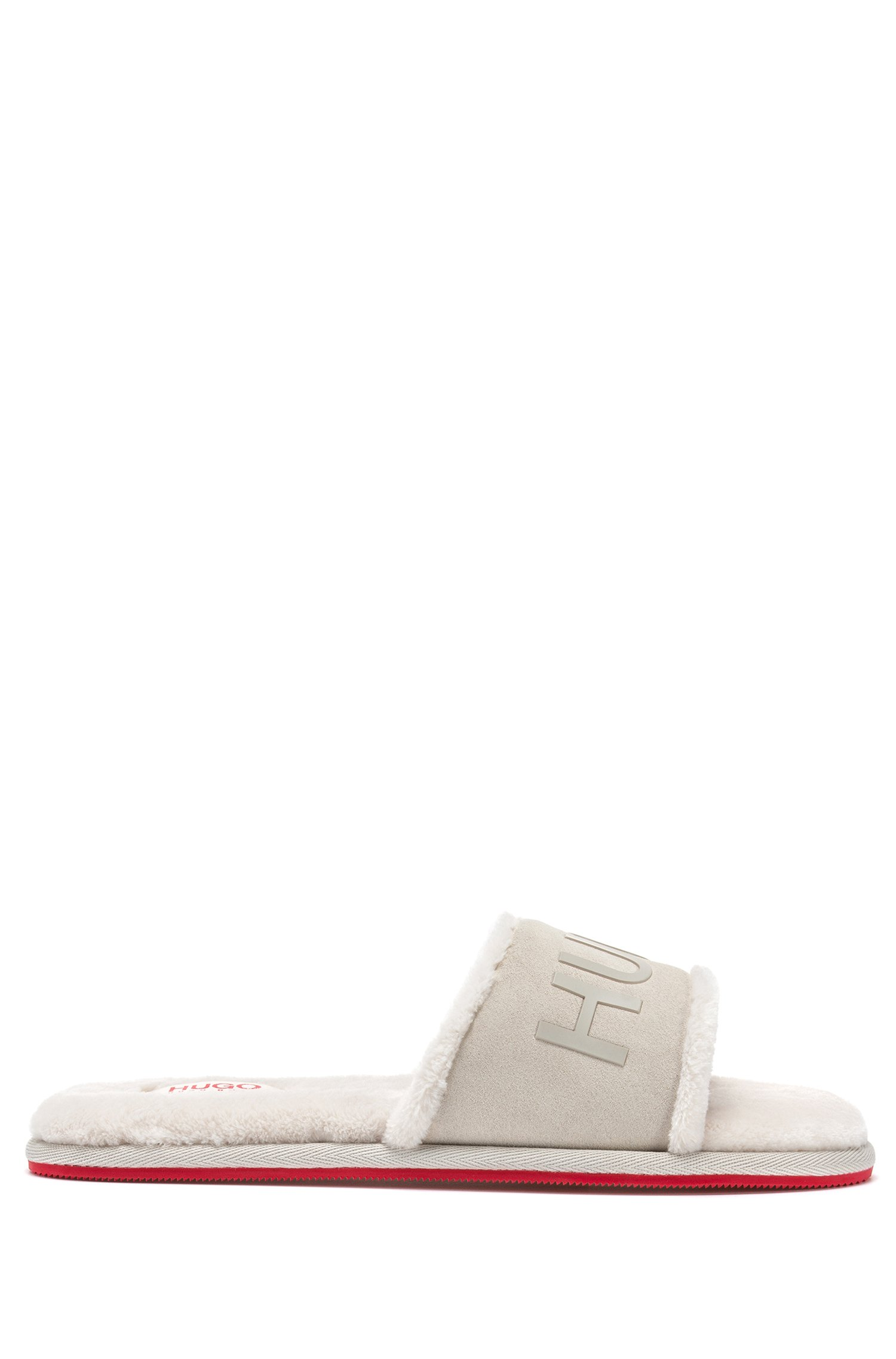 Slide-style logo slippers with split-leather uppers, White
