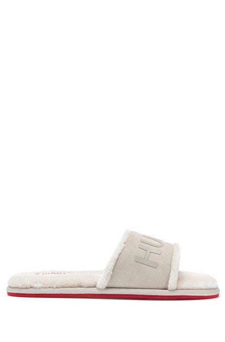 Mules à logo avec tige en cuir refendu, Blanc