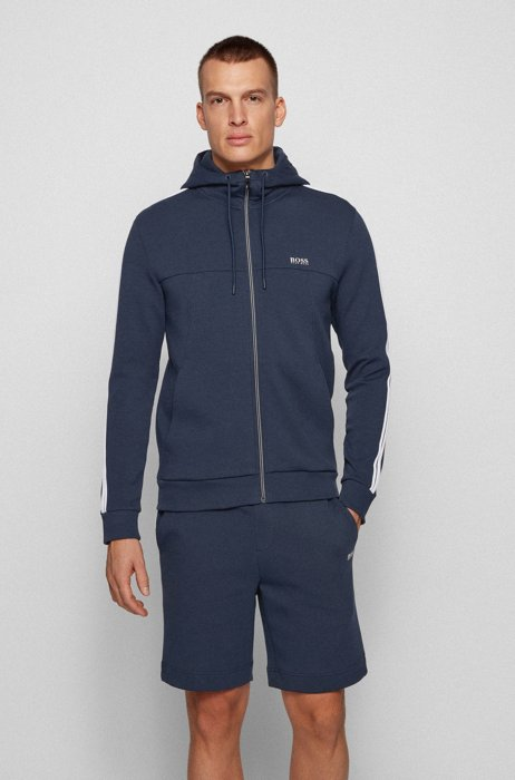 Cotton-blend tracksuit with shorts and zip-through hoodie, Dark Blue