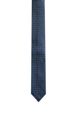 Stropdas van jacquardgeweven zijde met dessin, Donkerblauw