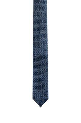 Patterned tie in jacquard-woven silk, Dark Blue