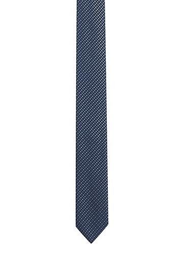 意大利制造微型图案真丝提花领带 ,  401_暗蓝色