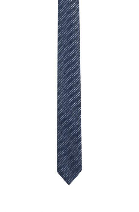 In Italië vervaardigde stropdas in een jacquard van zijde met microdessin, Donkerblauw