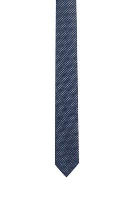 Italian-made micro-patterned tie in silk jacquard, Dark Blue