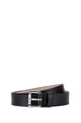 Grained Italian leather belt with roller buckle, Black