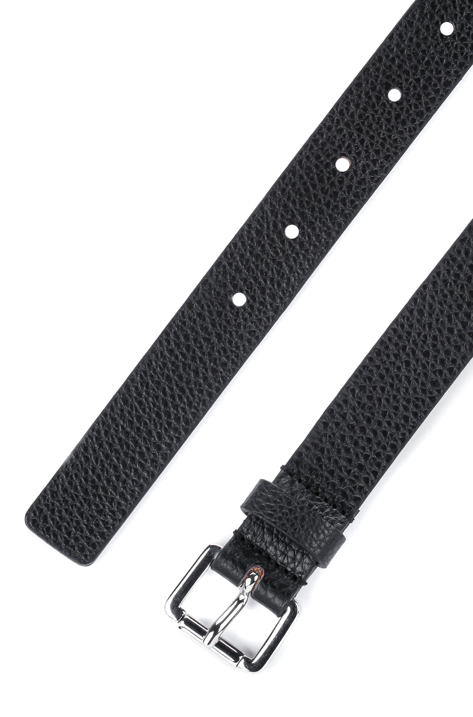 Cinturón de piel granulada italiana con hebilla de rodillo