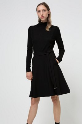 Textured A-line skirt with hardware-tipped belt, Black
