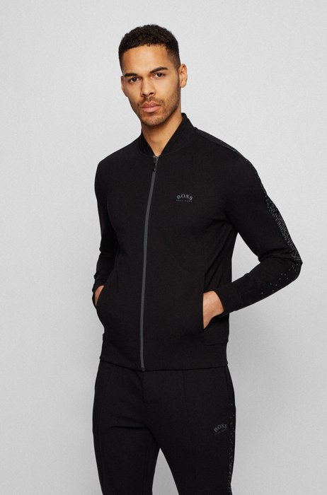 Relaxed-fit zip-through sweatshirt with reflective artwork, Black