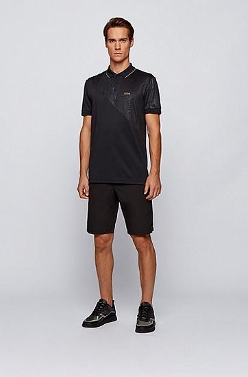 徽标压花艺术风装饰棉混纺 Polo 衫,  001_黑色