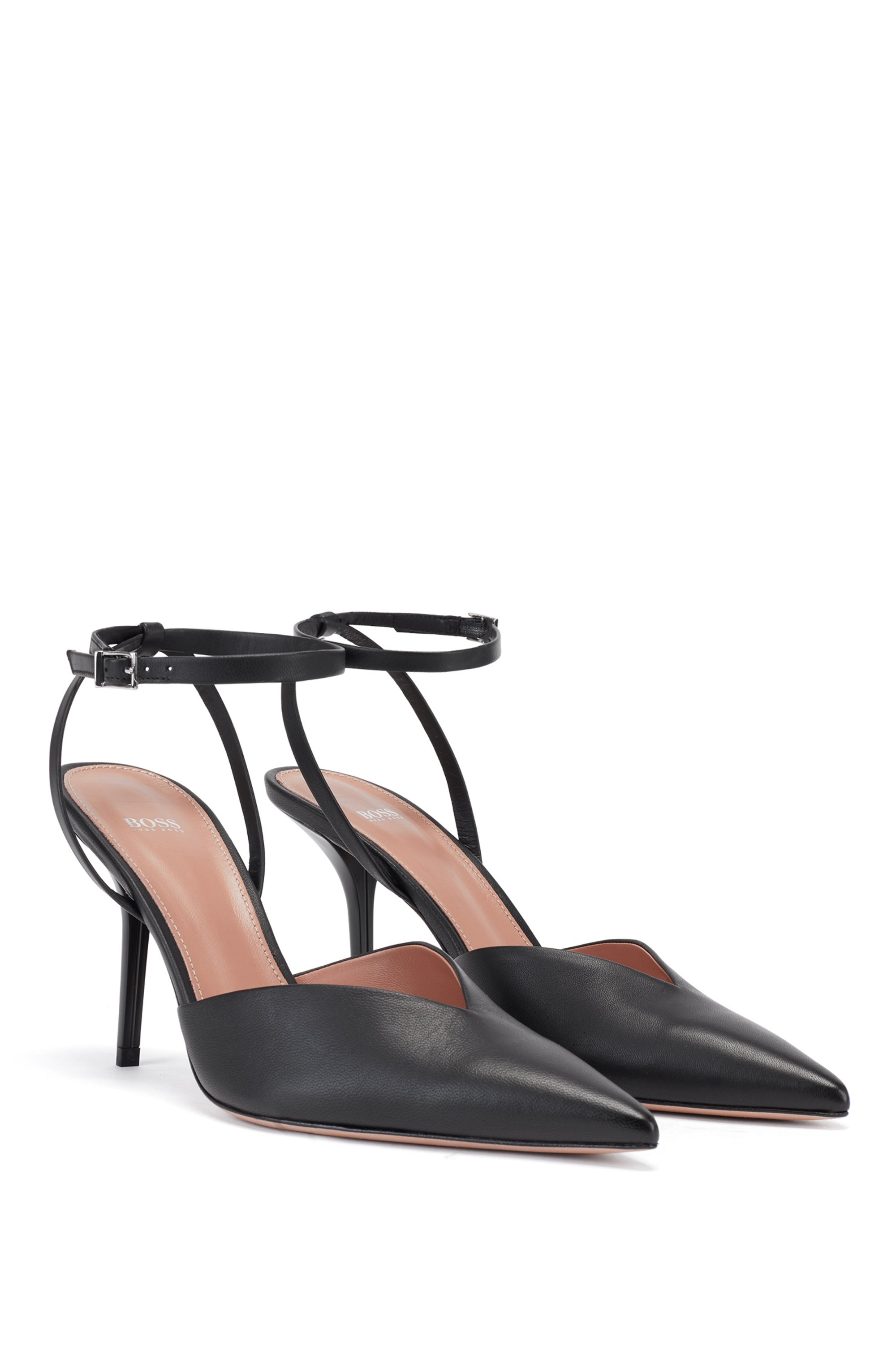 Slingback pumps in Italian leather with ankle strap