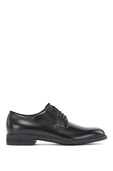 弹性鞋带意大利制造皮革德比鞋,  001_黑色