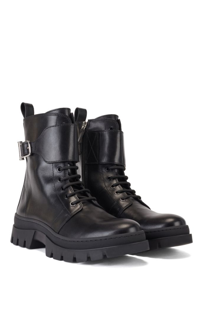 Biker-inspired boots in smooth Italian leather