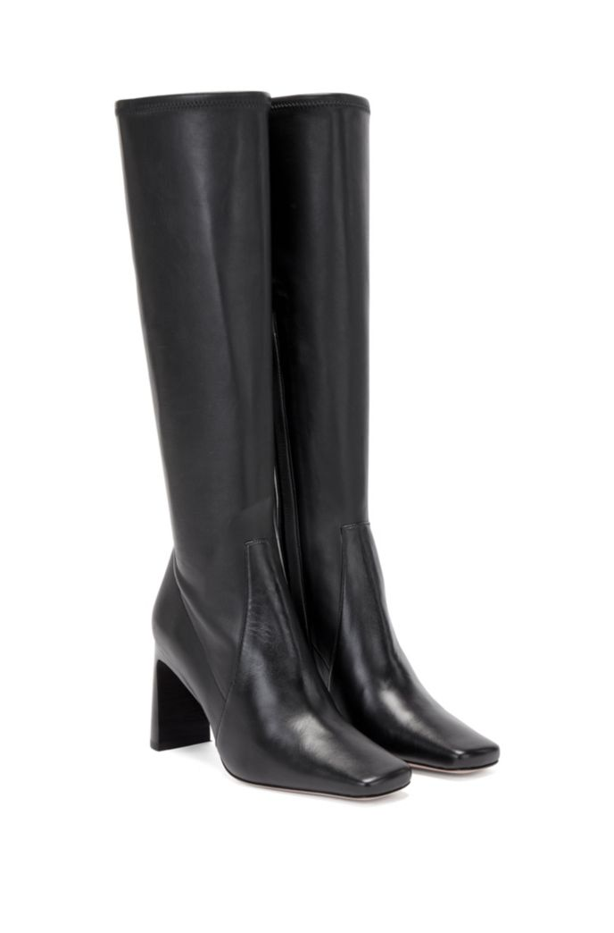 Knee-high boots in Italian leather with squared toe