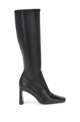 Bottes en cuir italien hauteur genoux, à bout carré, Noir
