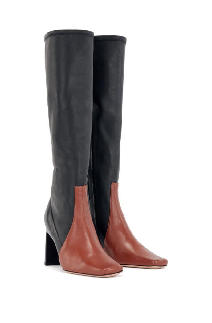 Bottes en cuir italien hauteur genoux, à bout carré