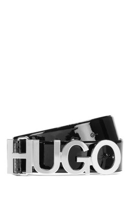 Logo-buckle belt in patent Italian leather, Black