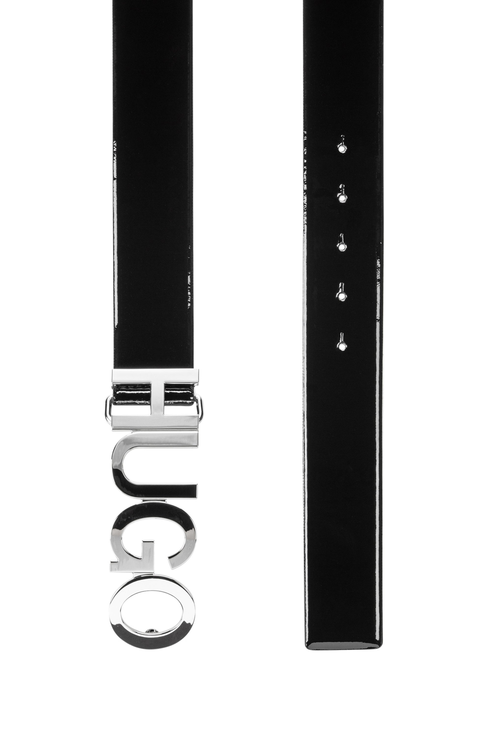 Logo-buckle belt in patent Italian leather