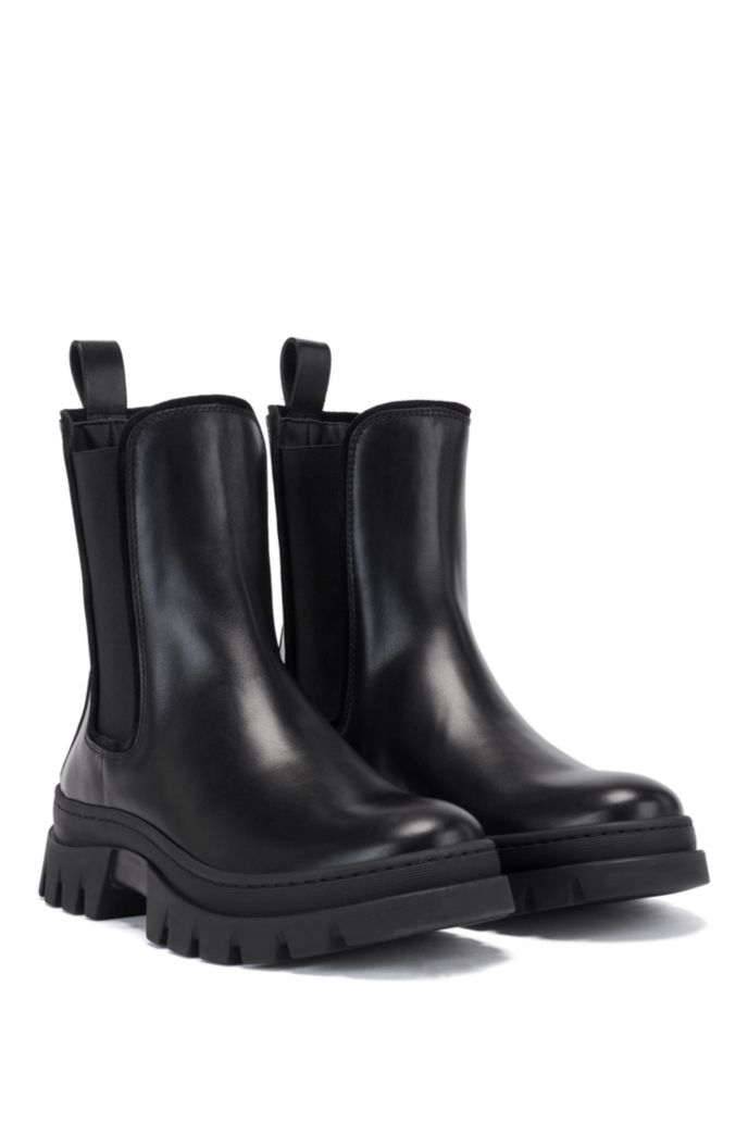 Italian-leather Chelsea boots with rubber lug sole