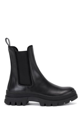 Italian-leather Chelsea boots with rubber lug sole, ブラック
