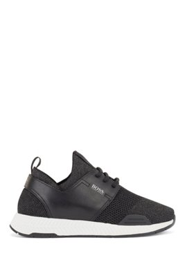 Leather-trimmed trainers with sparkling yarns, Black