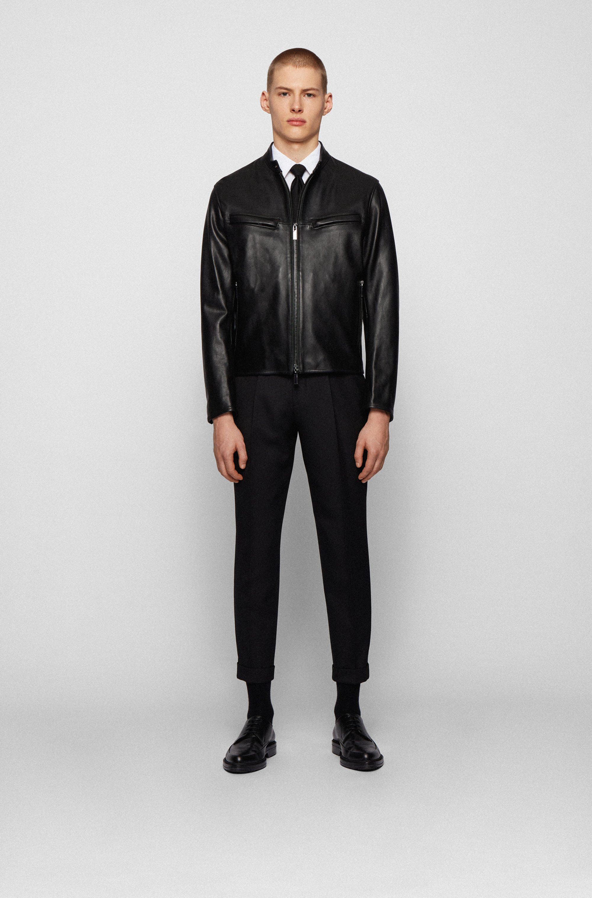 Regular-fit jacket in nappa leather with zipped cuffs