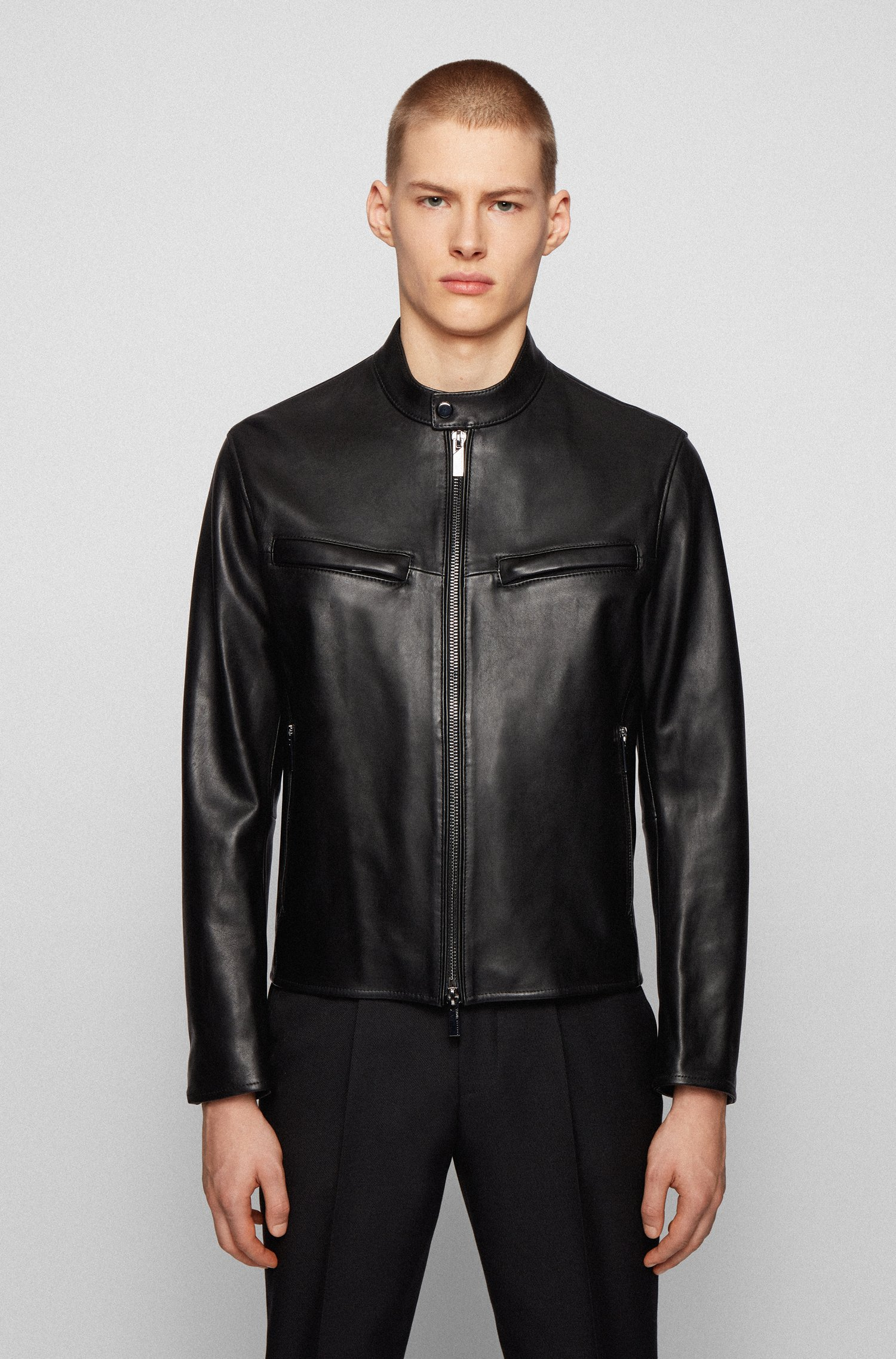 Regular-fit jacket in nappa leather with zipped cuffs, Black