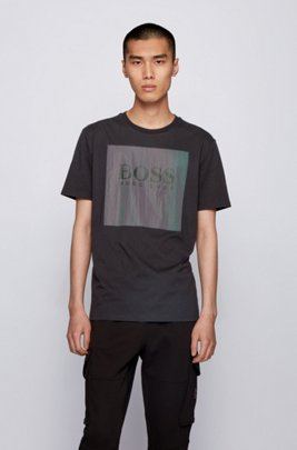 Cotton-jersey T-shirt with oversized iridescent logo patch, Black