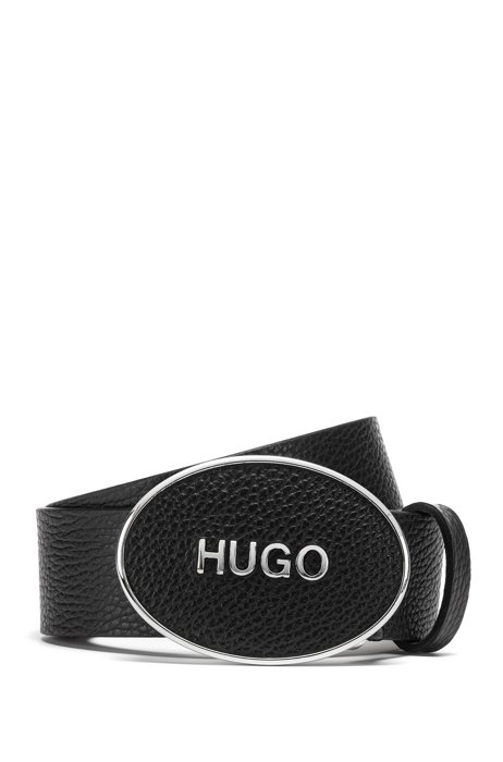 Cinturón de piel abatanada italiana con logo en la hebilla de placa, Negro