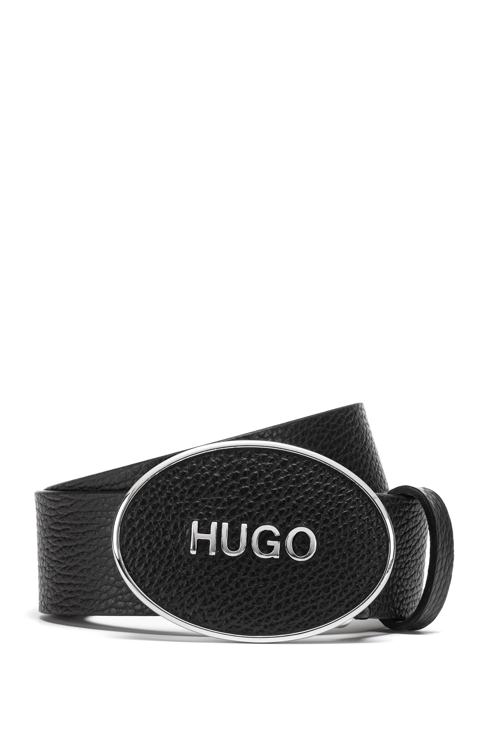 Logo-plaque belt in tumbled Italian leather, Black