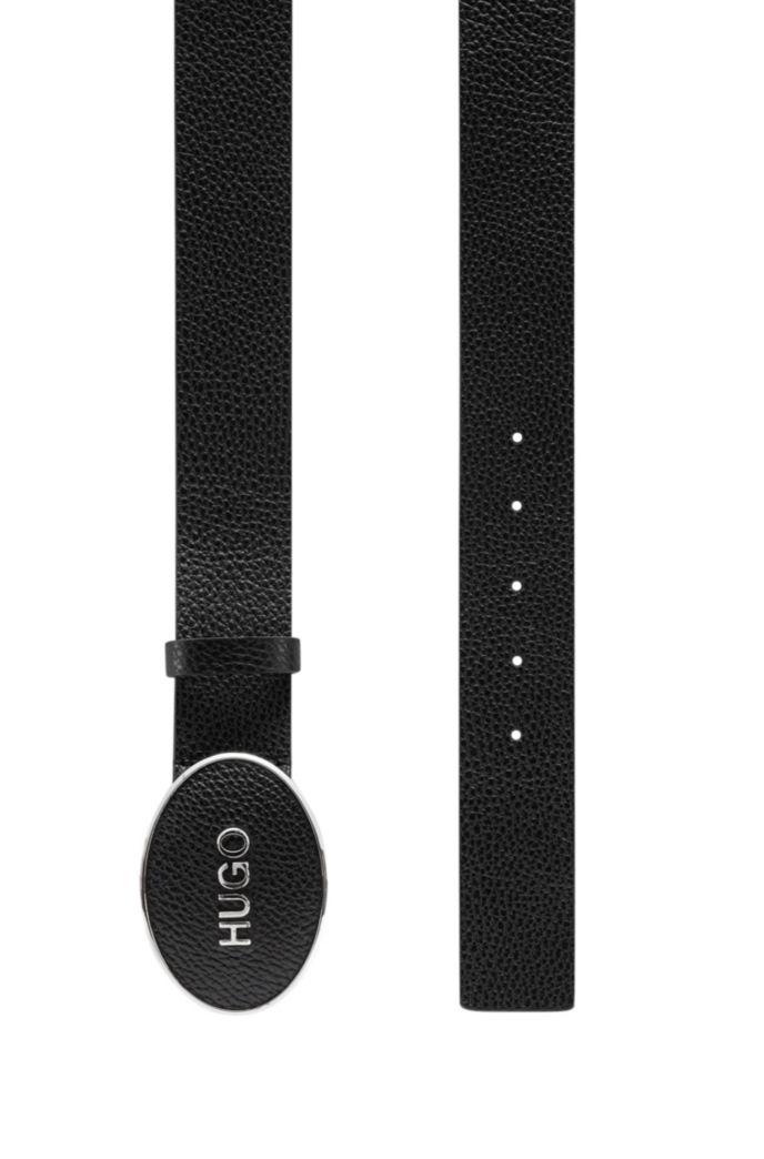 Logo-plaque belt in tumbled Italian leather