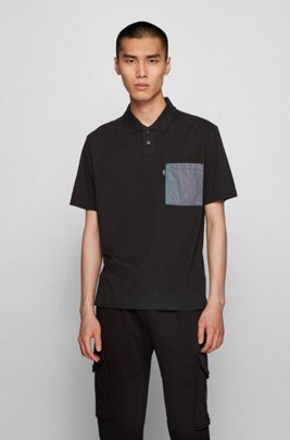 Relaxed-fit cotton polo shirt with iridescent-fabric details, Black