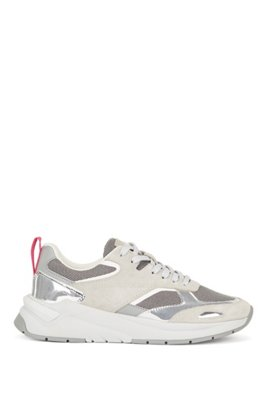 Hybrid trainers with metallic details, Light Grey