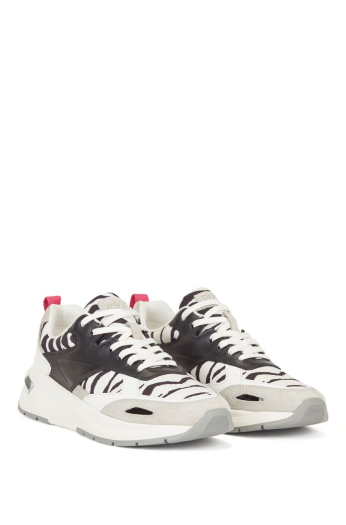 Hybrid trainers with zebra-print detailing