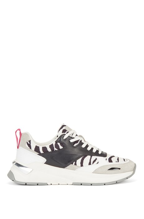 Hybrid trainers with zebra-print detailing, White