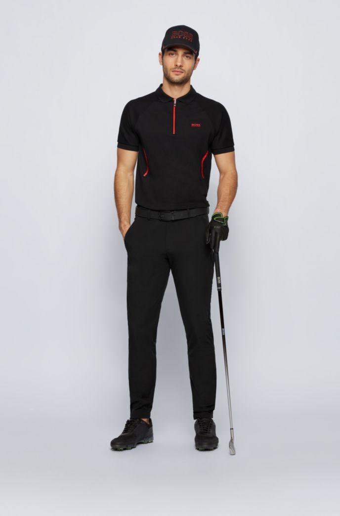 Zip-neck polo shirt in S.Café® fabric