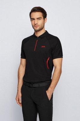 Zip-neck polo shirt in S.Café® fabric, Black