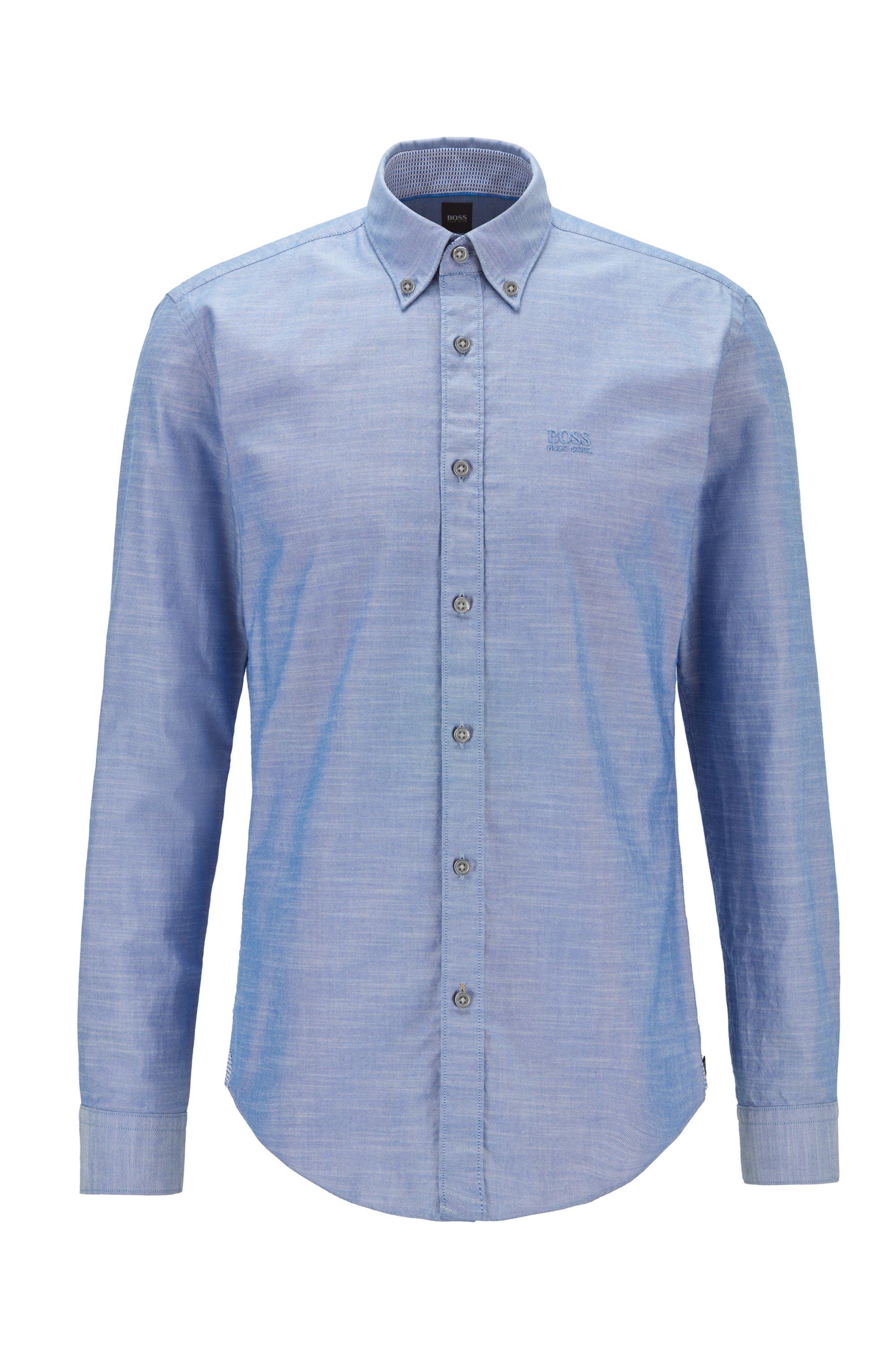 Chemise Slim Fit en coton stretch à logo brodé, bleu clair